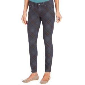 Prana Gray Plaid Jett Ankle Zip Skinny Jeans 10